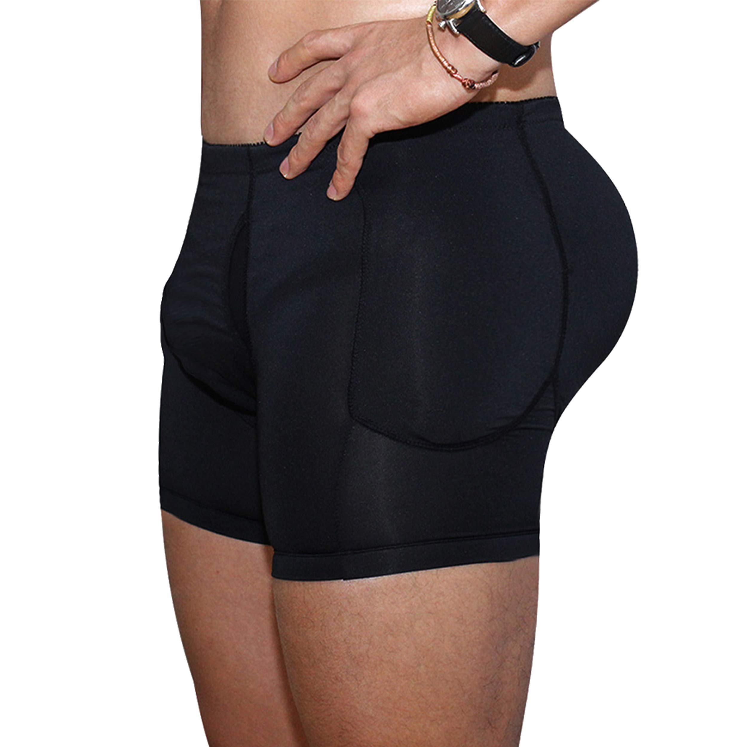 Queenral Men's Pad Shaper Panty Male Underwear with Butt Lifter Slimming Waist Shaper Black by Queenral