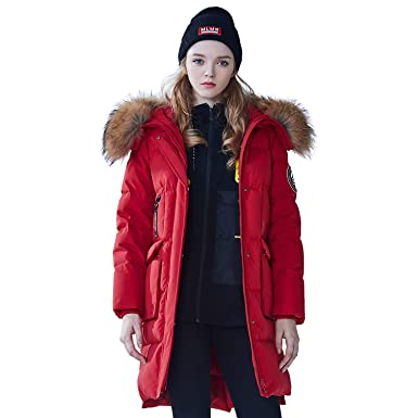 11ecb61ad Amazon.com: BOSIDENG Women's Harsh Winter Goose Down Jacket Real Fur ...