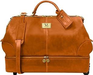 2b25344b00 Tuscany Leather Siviglia Borsa da viaggio in pelle con doppio fondo e due  ruote Miele