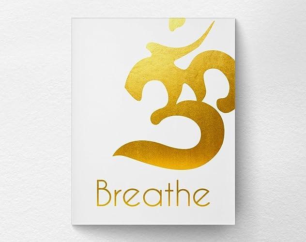 Breathe Om Gold Yoga Wall Art Print Poster Home Decor, Yoga Studio Art