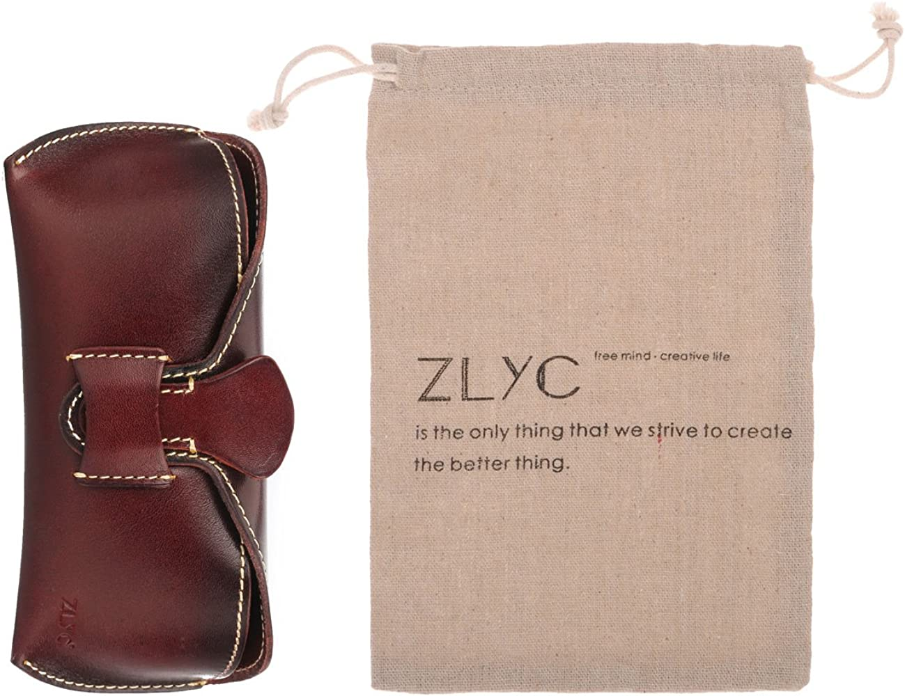 ZLYC Vegetable Tanned Leather Buckle Closure Hard Eyeglass Case Sunglasses Holder Coffee