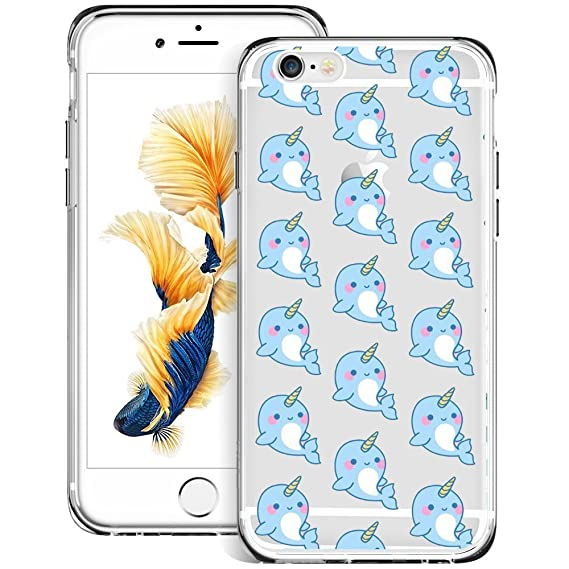 new style 74380 ac0c7 Cute Narwhal iPhone 6s 6 Case, Suowen Waterproof/Shockproof Protective  Phone Clear Case, Soft Slim Fit Full Protective Shell Phone Cover Case for  ...