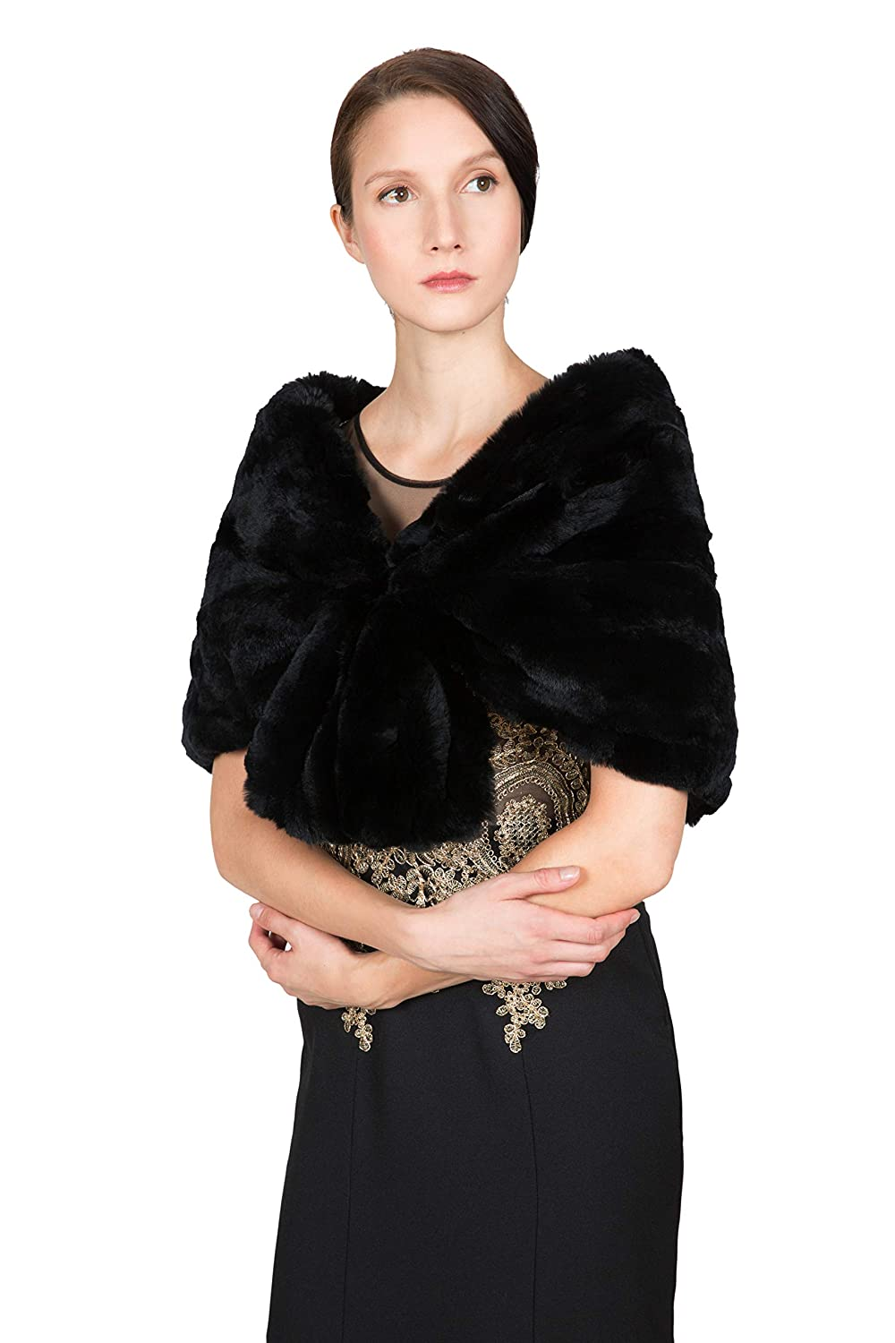 d4952934e OBURLA Women's Rex Rabbit Fur Cape with Collar | Soft and Luxurious Real Fur  Shawl Wrap Stole (Black) at Amazon Women's Clothing store:
