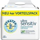 Penaten Ultra Sensitiv Feuchttücher parfümfrei, Tücher ohne Alkohol und Parfüm für hochsensible Babyhaut, Auch für Allergiker geeignet, Vorteilspack: 4 x 56 Stück