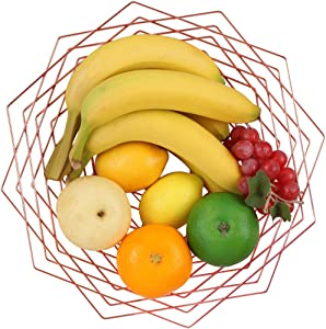 Buruis Large Sturdy Fruit Bowl, Metal Creative Flower Pattern Fruit Basket, Modern Table Centerpiece Holder Stand for Fruit, Vegetable, Candy, Snack, Bread, Kitchen Counter Home Decoration (Rose Gold)