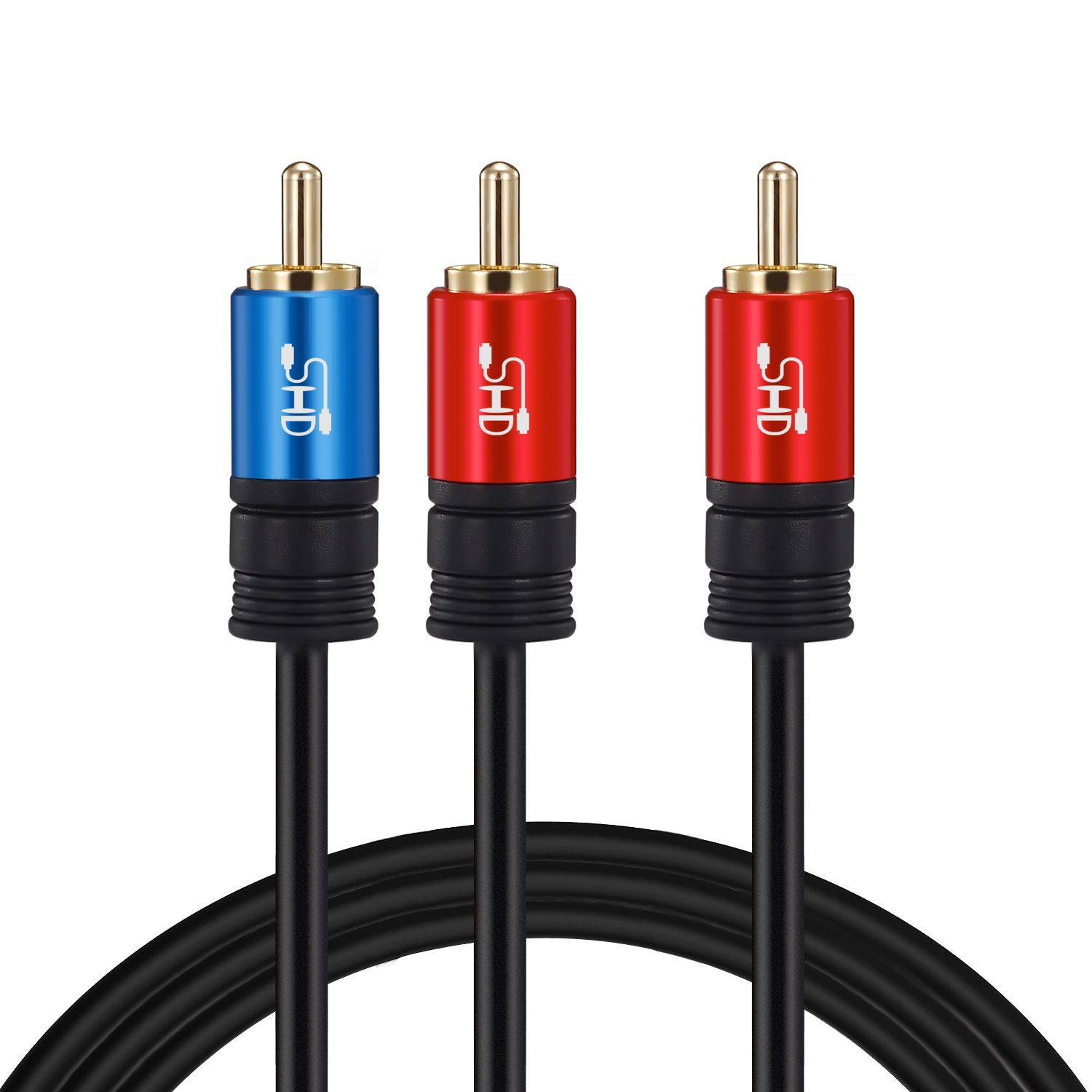 SHD RCA to 2RCA Subwoofer Cable Audio Cable 2RCA to 1RCA Bi-Directional RCA Y Adapter Premium Sound Quality Dual Shielded with Gold Plated Connectors-30Feet by SHD