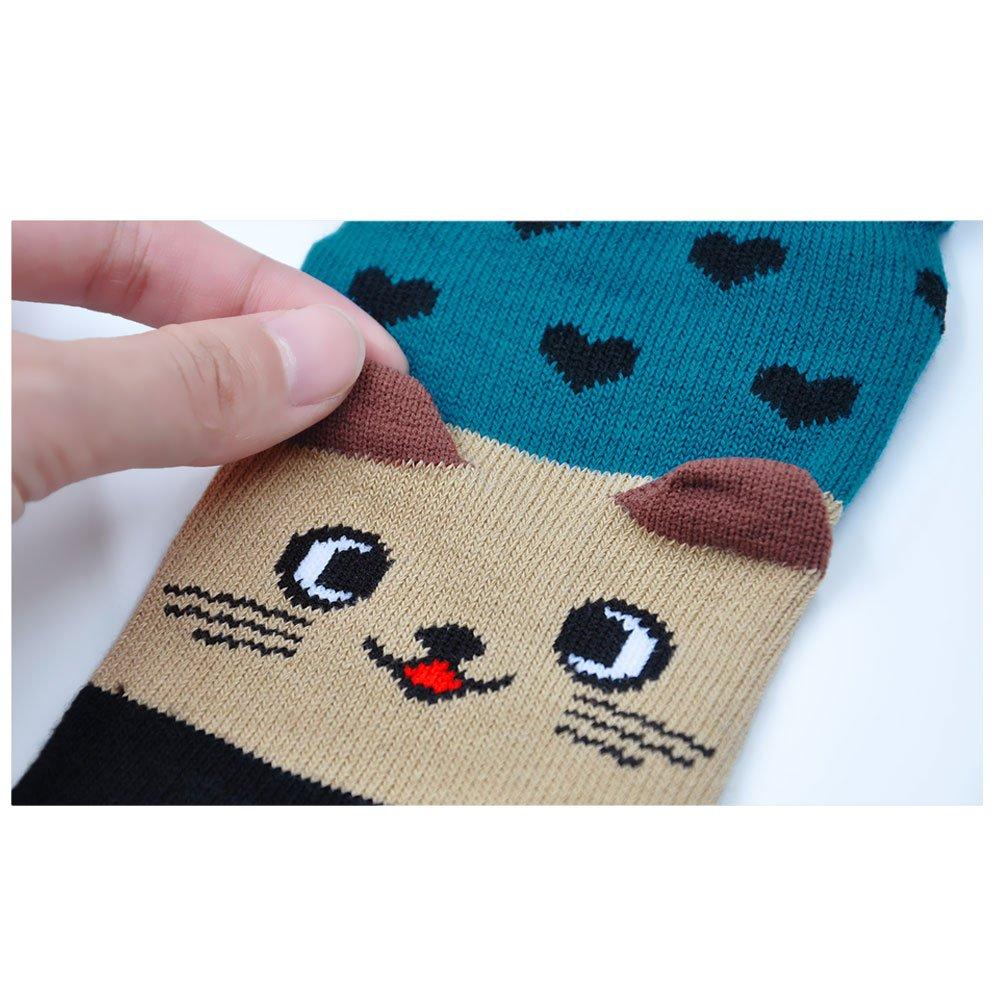 Damen Socken aus Baumwolle Witzige Socken Karikatur Tier Socken Niedliche Tiere Socken Bunt Muster Kurze Socken Damen Zehensocken Five Finger Socken 4 Paare
