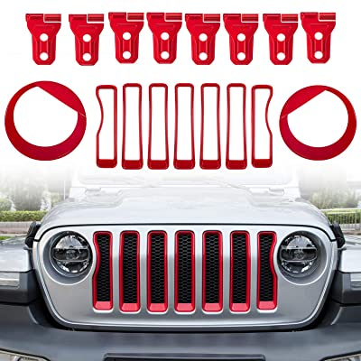 Camoo for Jeep JL Front Headlight Covers &Front Grille Trim covers& Door Hinge covers 17 Pcs Fit Jeep Wrangler (JL/JLU) Sport 2020 2020: Automotive