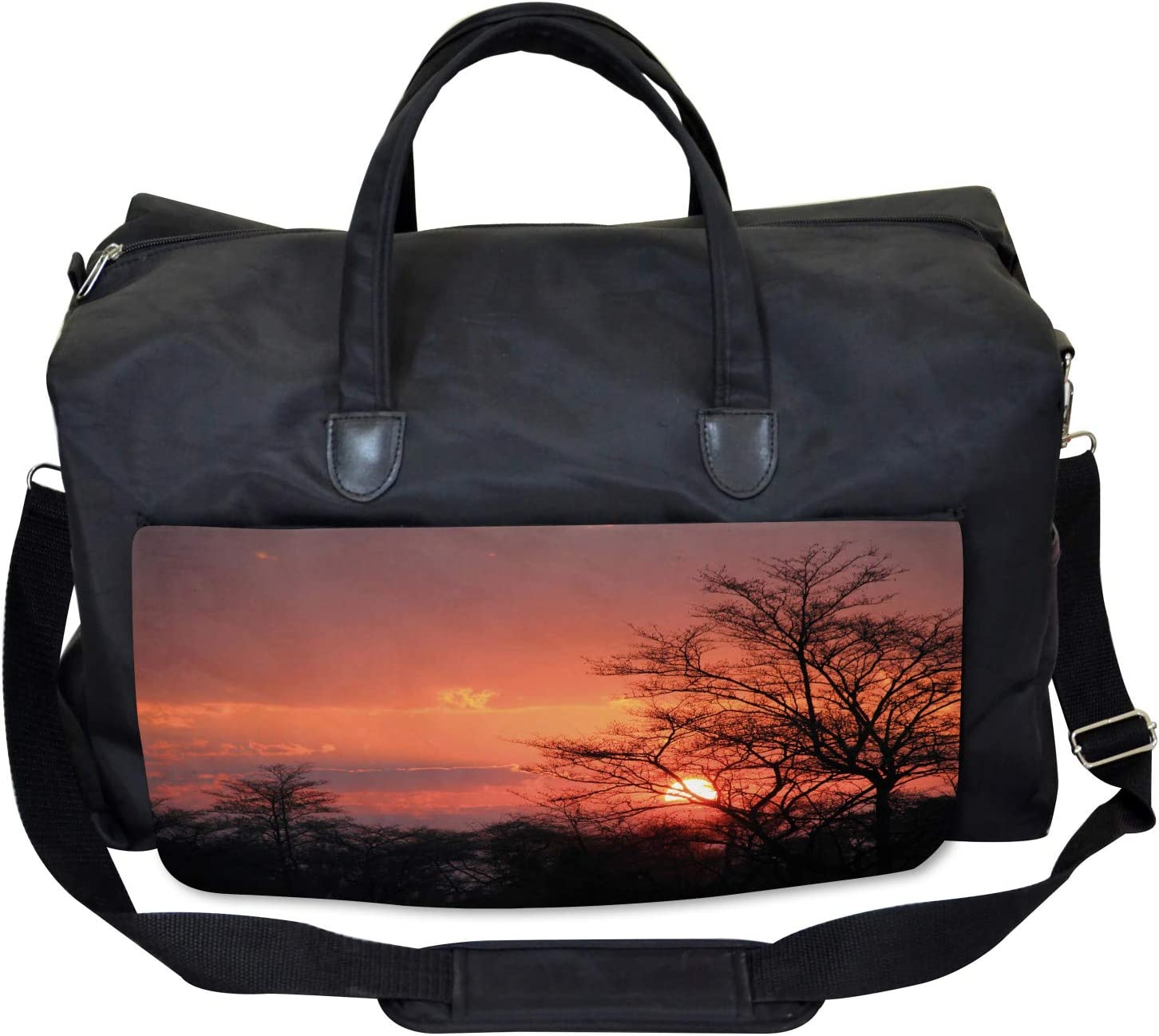 Ambesonne African Gym Bag Large Weekender Carry-on Sunset at Kwando River