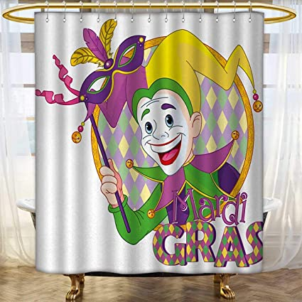Mardi Gras Shower Curtains Fabric Extra Long Cartoon Design Of Jester Smiling And Holding