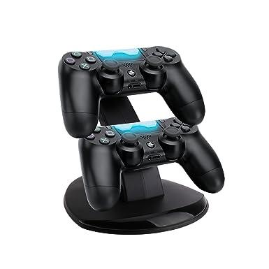 iiniim Cargador Para 2 Mandos Double Base Cargador Soporte Estaciónes muelle de la estación con dos puertos USB para PS4