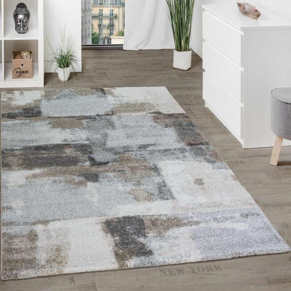 Paco Home Designer Teppich Wohnzimmer Webteppich Kariert Webteppich In Grau Creme, Grösse 120x170 cm
