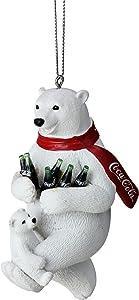 """Kurt Adler 4.25"""" White Polar Bears with Coca-Cola Bottles Christmas Ornament"""
