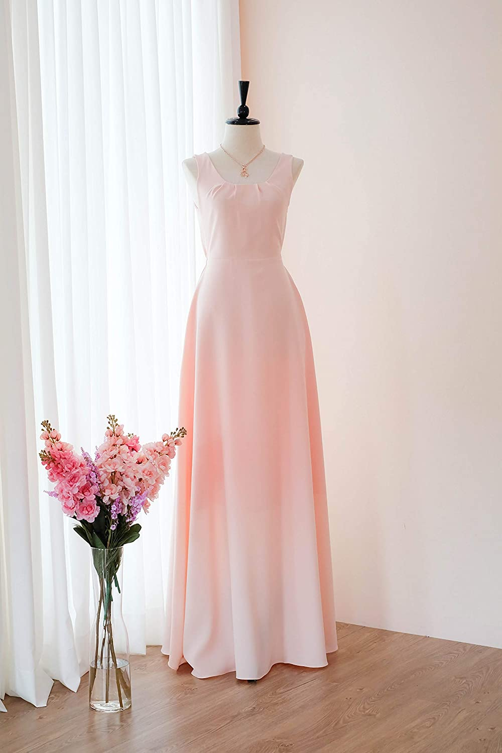 e8115681270 Amazon.com  Pink blush bridesmaid dresses LONG Prom party wedding cocktail  evening gown  Handmade