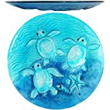 "Comfy Hour 13"" Decorative Three Turtles Sea Snail Conch Starfish Pattern Glass Plate, Dishwasher Safe, Blue"