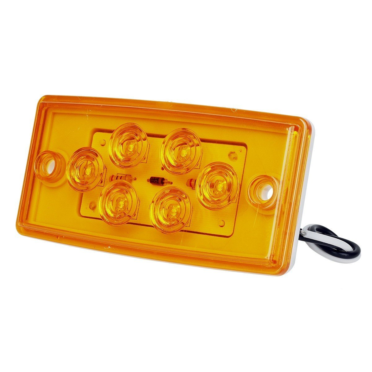 Partsam Replacement for Volvo/Freightliner Century/Columbia Led Lights Kit,  5X Rectangle Amber 6LED Cab Roof Top Marker Light+2X 5-7/8