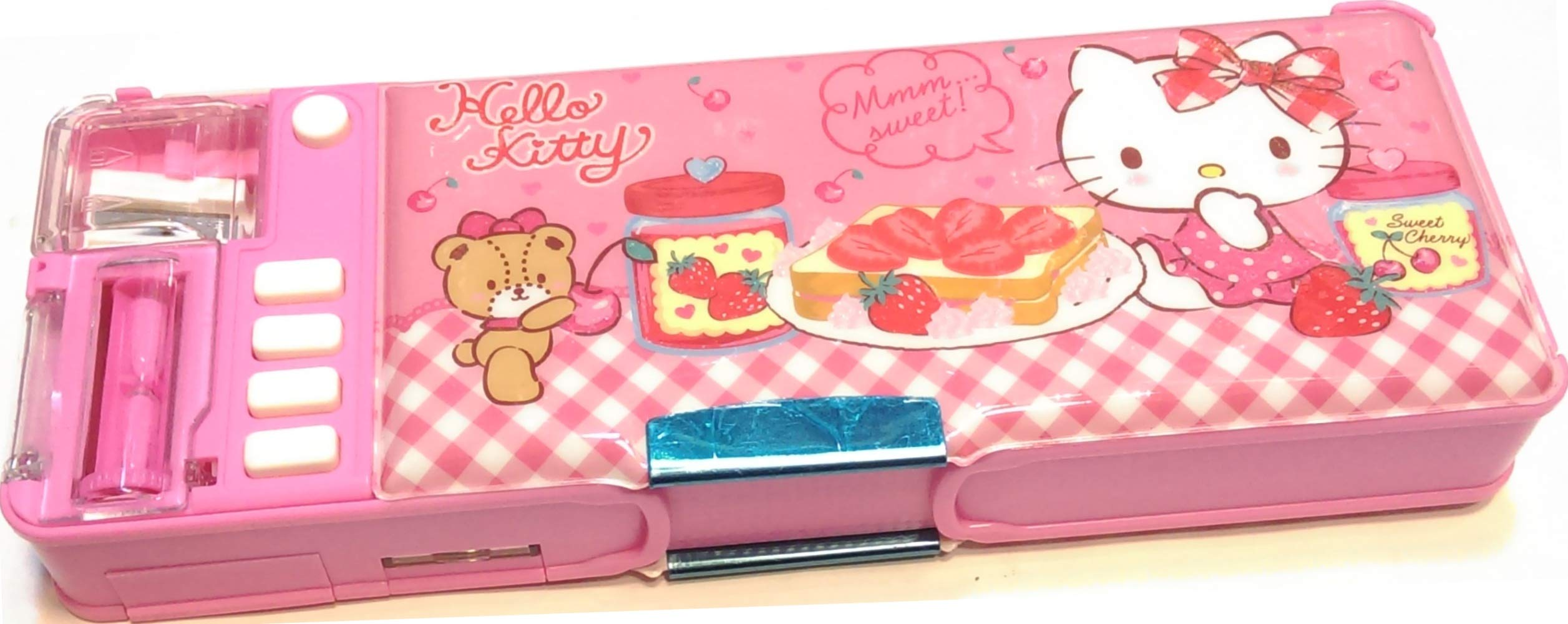 Hello Kitty Glitter Glue Multi Functional 2-Sided Holder Pencil Pen Box Deluxe Case w/Sharpener Timetable by Ellon