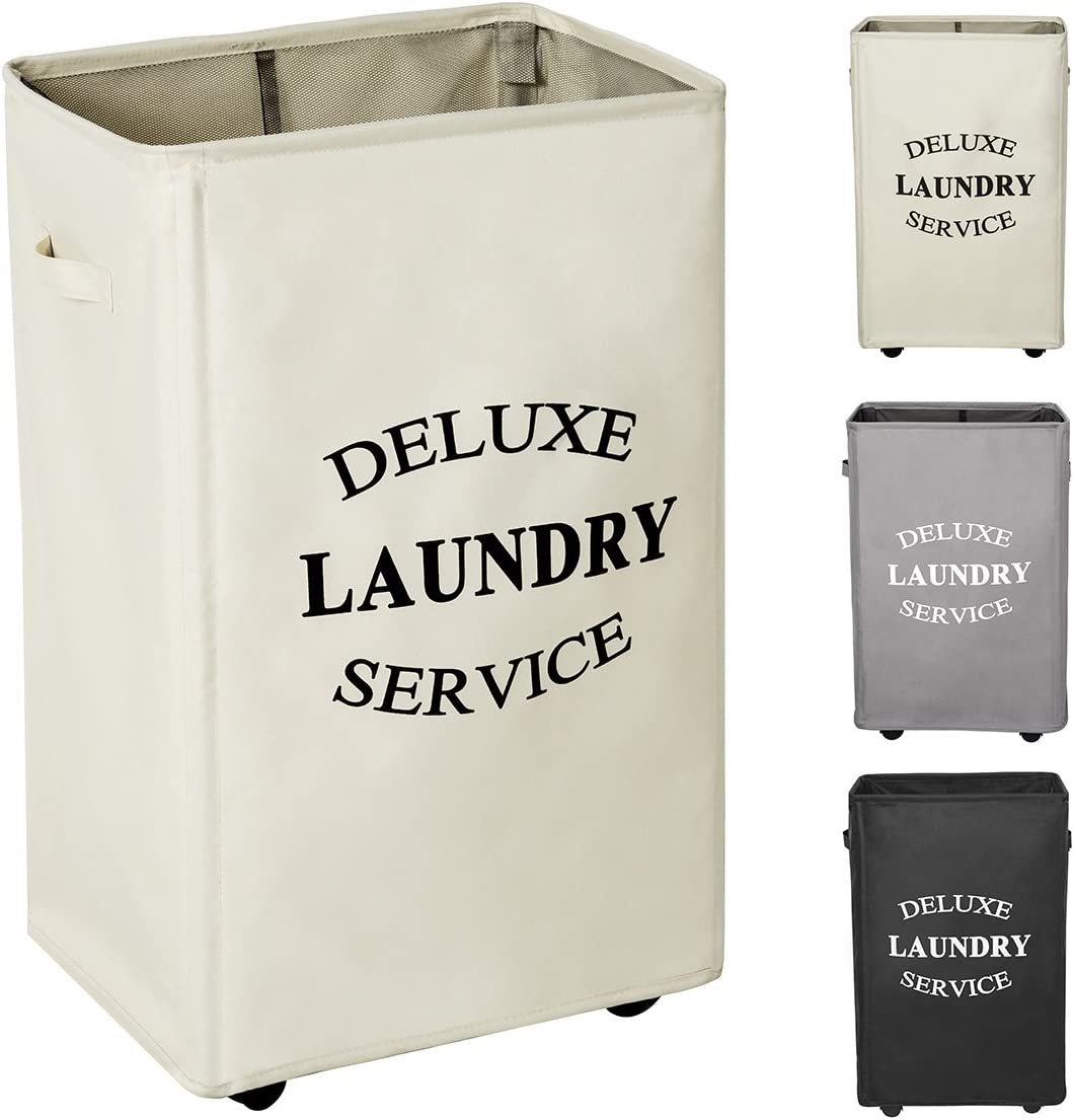 WOWLIVE 90L Large Rolling Laundry Hamper with Wheels Collapsible Laundry Basket on Wheels Durable Laundry Bag on Wheels Foldable Rectangular Hampers for Laundry (Beige)