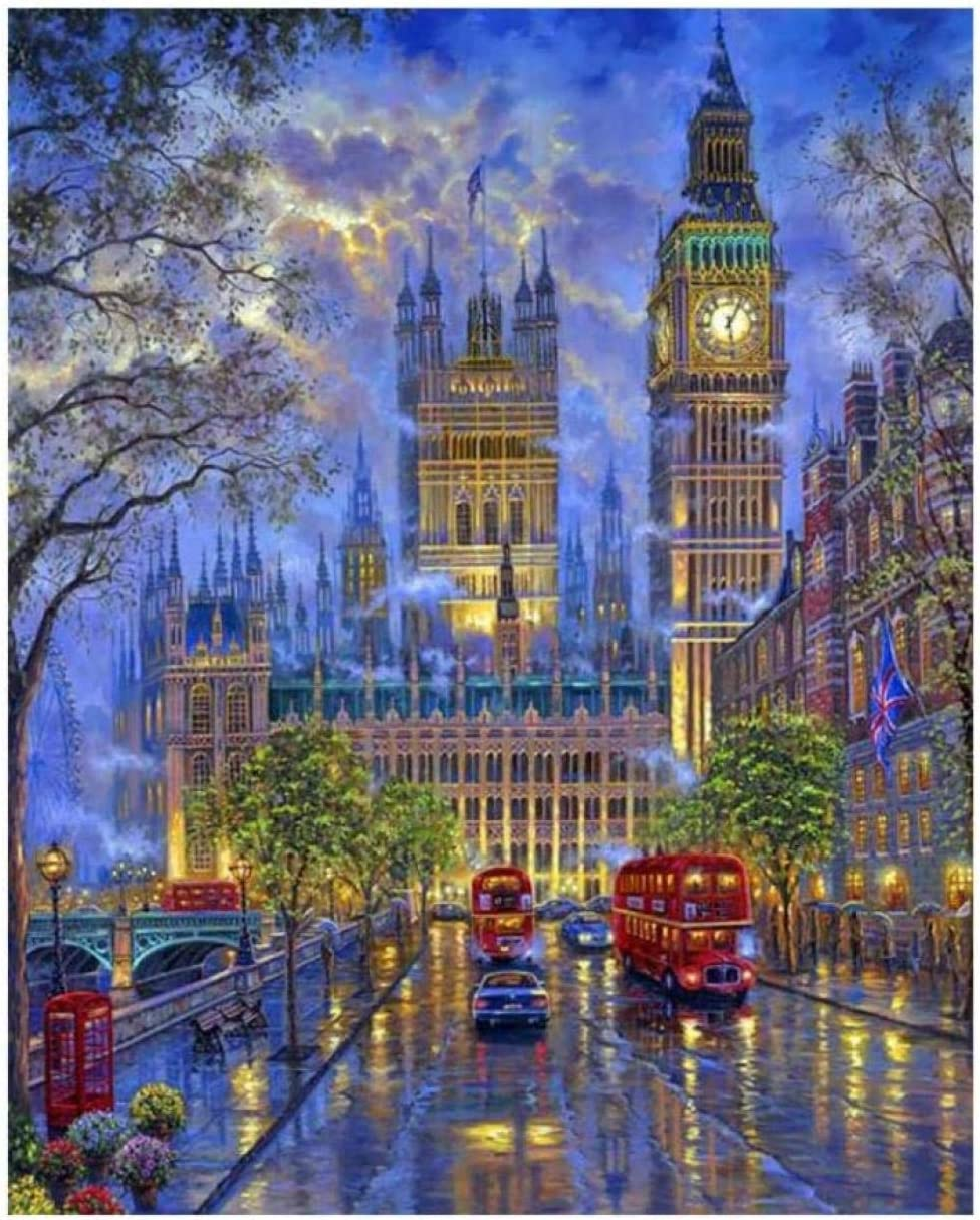 LSDAMW Big Ben in London Crystal Full Round Drill DIY 5D Diamond Painting Kits Mosaic Embroidery Pictur Cross Stitch Diamond Paste Handicrafts Home Decorations Gift~