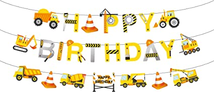Construction Vehicle Happy Birthday Banner Farm Engineering Vehicles Theme Birthday Party Decoration Banner with Excavator Bulldozer Truck