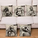 """Yi Tong Cushion Cover Linen Pillowcases Star Wars Printing Home Decoration,45cmx45cm (18""""x18) 5 Pieces"""
