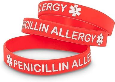 Medicaband - Pulsera de silicona para alergia a la penicilina: Amazon.es: Ropa y accesorios
