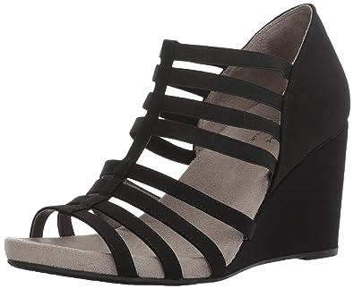 LifeStride Women's Helena Wedge Sandal, Black, ...