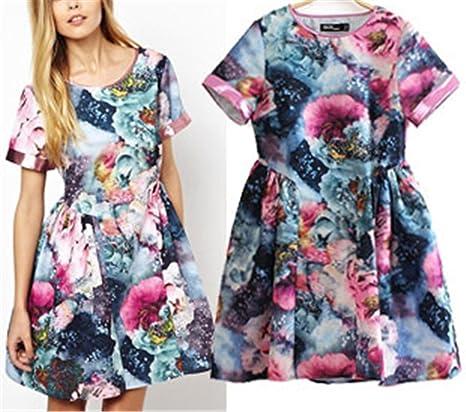 Amazon.com: Paule Trevelyan Primavera verão NEW nova retro vintage floral imprimir cintura império roxo rosa azul skater dress vestido dress: Clothing