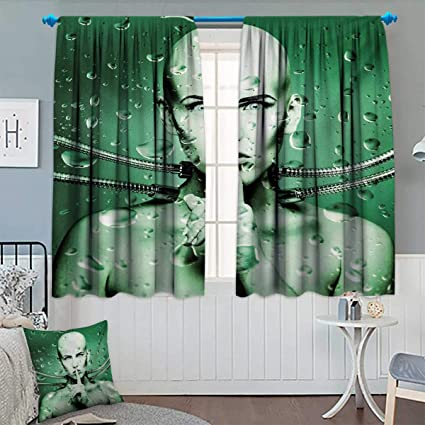 Anhounine Futuristic,Blackout Curtain,Robot Girl With Cables In A Glass  Underwater Design Print