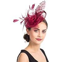 Tocado de malla con plumas y velo de rejilla, tocado para fiestas, sombreros de Ascot, sombreros de flores para las…