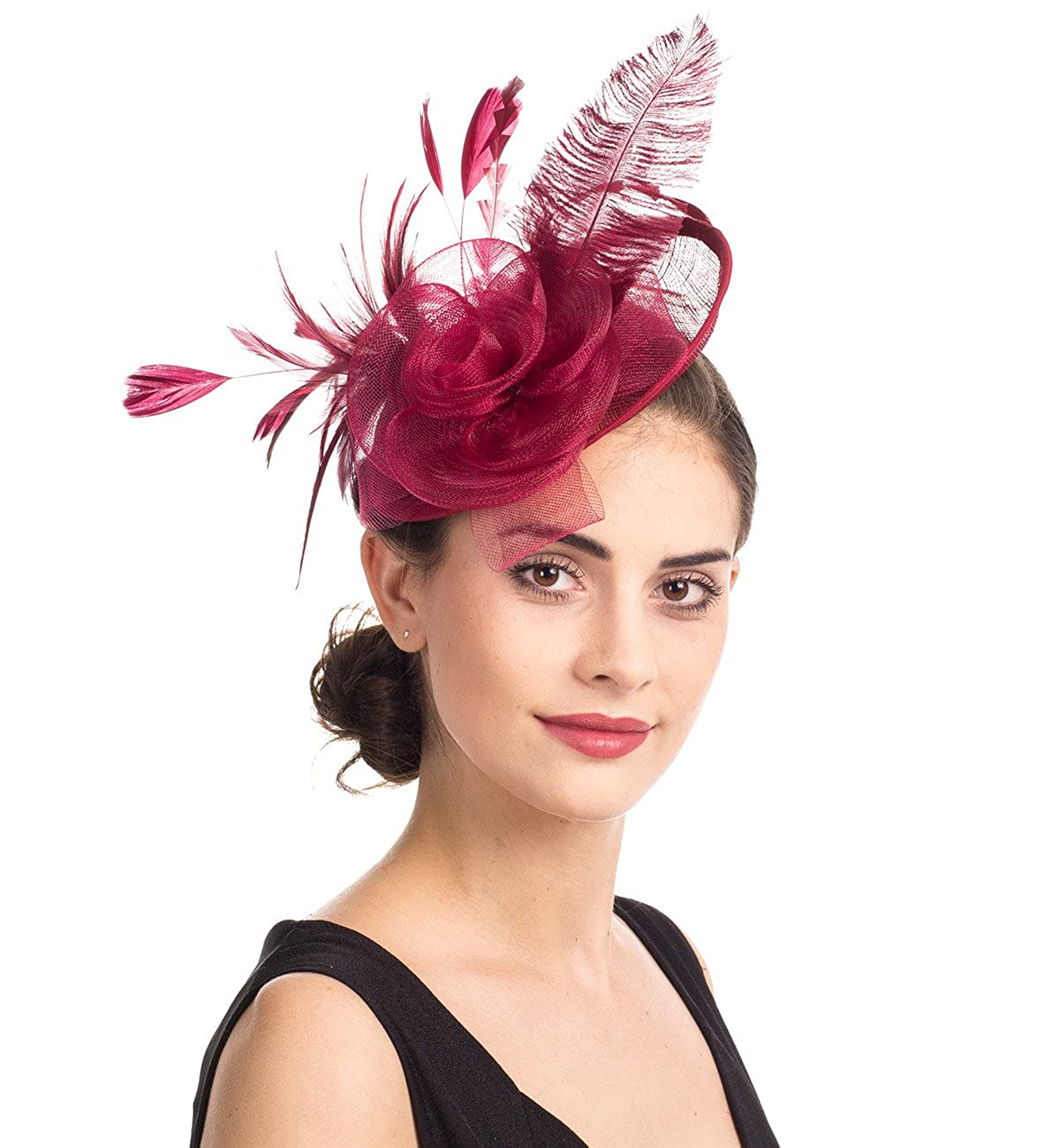 d4c12de8cc2ba Sinamay Flower Feather Headband Fascinator Wedding Headwear Ladies Race  Royal Ascot Pillbox Wedding Cocktail Tea Party Derby Hat For Women