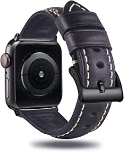 Jordill Compatible with Apple Watch Band 42mm 44mm,Retro Genuine Leather Band Replacement Strap Compatible with Apple Watch Series 4/3/2/1