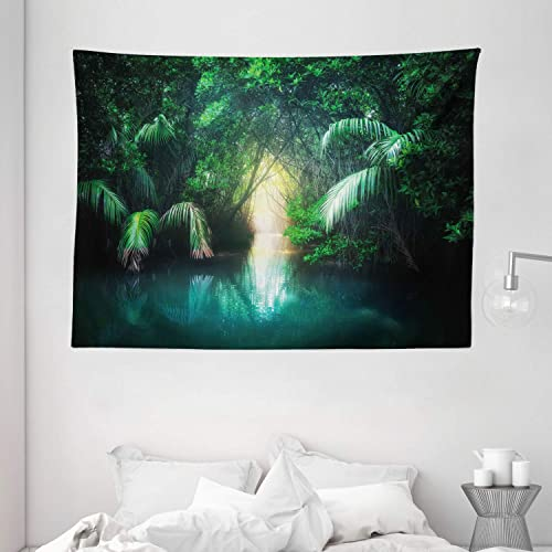 Ambesonne Jungle Tapestry, Tropical Lake Mangrove Rainforest Pathway Through Sri Lanka Travel Destination, Wide Wall Hanging for Bedroom Living Room Dorm, 80 X 60 , Green Teal