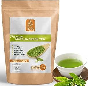 Matcha Green Tea Powder - Japanese - 200 Serves - 100g - Ceremonial Grade Matcha Green Tea Powder - Ideal for Matcha Latte, Smoothies, Baking, Ice Cream