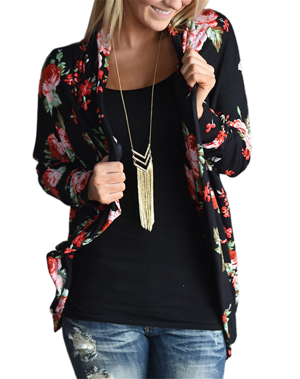 Moxeay Women Long Sleeve Wrap Outwear Tops Floral Print Cardigans Casual Coat (X-Large, Black-A)