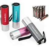 EverBrite 4-Pack Mini LED Aluminum Flashlight, Random Color, Handheld Torch with Lanyard 3AAA Battery Included…