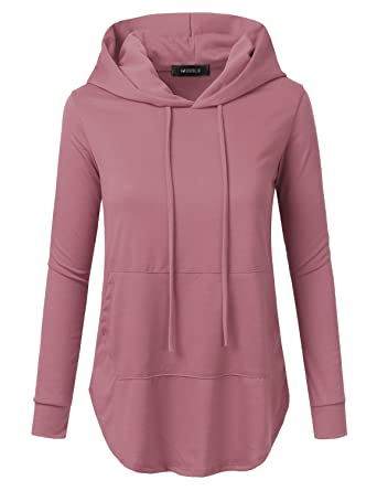 732c2dd7648 Doublju Loose Fit Pullover Hoodie with Kangaroo Pocket for Womens with Plus  Size DARKMAUVE 1X