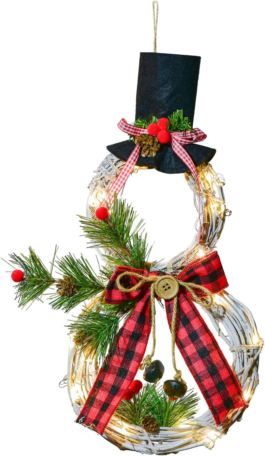 Artiflr 16 x 8 Inch Lighted Christmas Wreath Decoration, Grapevine Wreath with Hat and Bow Snowman Shape Wreath for Front Door Home Wall Decor (Red)