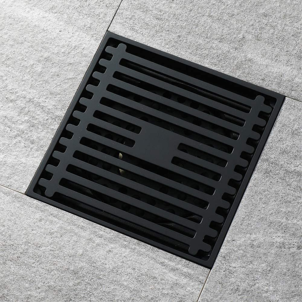 DFQX Black Square Floor Drain/Bathroom Tile Insert Shower Draine/Kitchen/Garden/Anti-Smelly/Anti Clogging/Sink Strainer with Removable Cover(100X100MM)