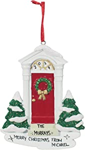 Personalized Christmas Tree Decoration Ornament 2020 – Traditional Home Décor – New Year Santa Gift - Holiday Fun w Hanging Hook - Door (RED) - Free Customization