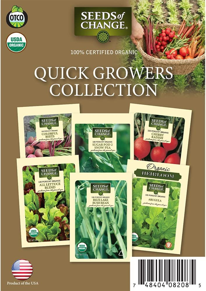 Seeds of Change 60-08208 Certified Organic Quick Growers Collection Garden Seeds