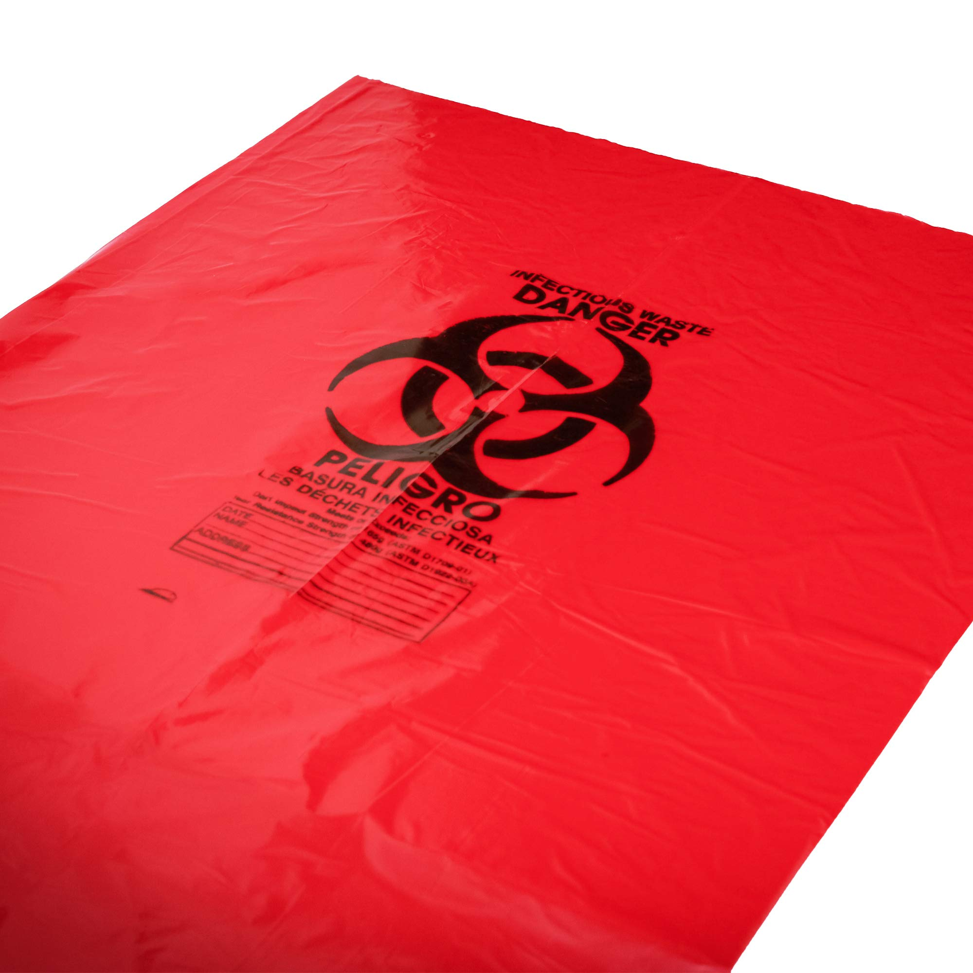 40-45 Gallon 40 x 46 Red Biohazard Bags 1.2 mil Case:100