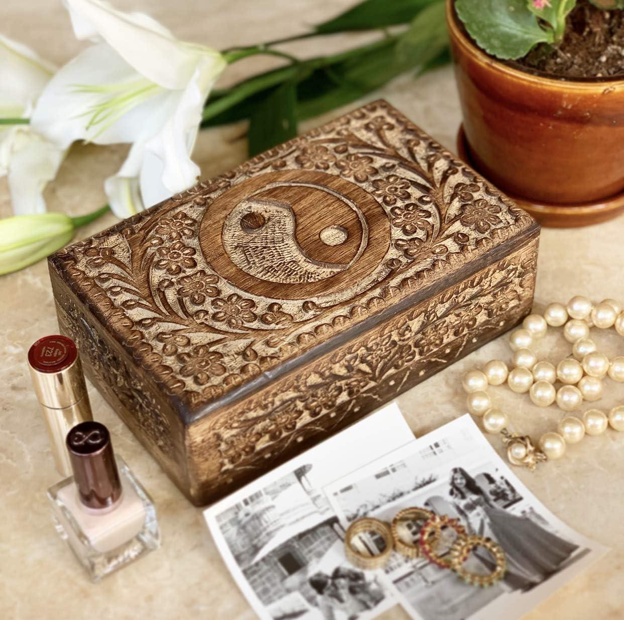 20,3 x 12,7 cm Cofanetto portagioie Realizzato a Mano in Legno con Lucchetto Global Village Bazaar