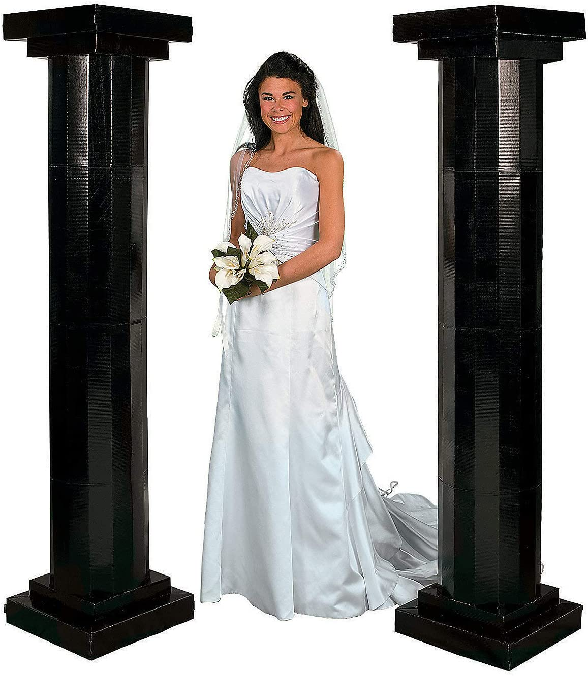 Fun Express - 6' Black Fluted Pillars (2pc) for Party - Party Decor - Large Decor - 3 - D Stand Ups - Party - 2 Pieces