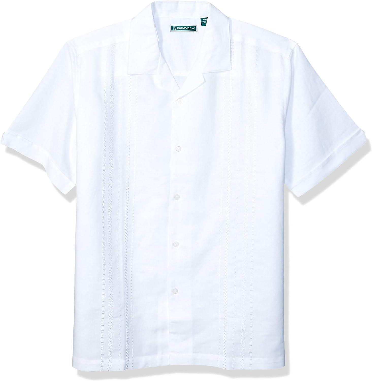 Cubavera Mens Short Sleeve Cuban Camp Shirt with Embroidered Panels