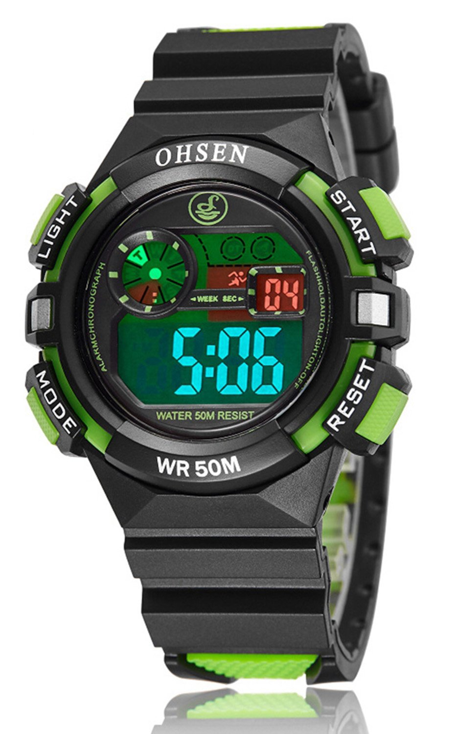 Girl Boy Children Digital Sport Alarm Chronograph LED Back Light Date Waterproof Student Rubber Watch (Green) by Fanmis