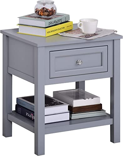 HOMCOM Accent End Table Nightstand with Grey Tabletop, Storage Drawer, and Bottom Shelf