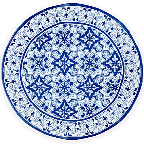 Q Squared Talavera in Azul BPA-Free Melamine Serving Platter 16-Inches Blue and White  sc 1 st  Amazon.com : decorative blue plates - pezcame.com