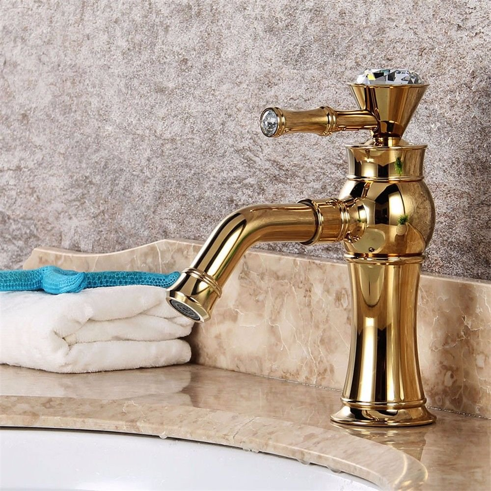 Gyps Faucet Waterfall for Cold and Hot Water Tap Bathroom pink Antique gold Basin Tap Single Hole Handle Hot and Cold gold Crystal Taps Handle, Desg