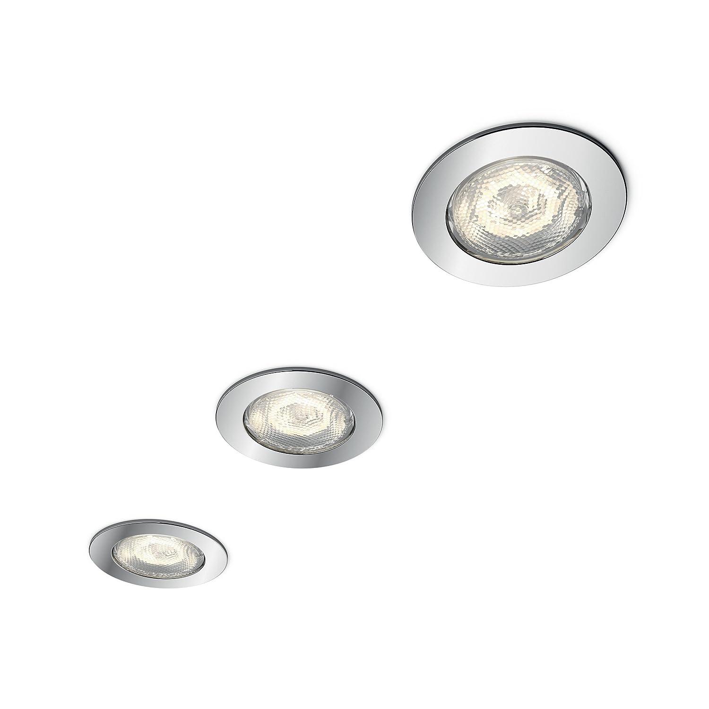 Philips Lighting Dreaminess Set 3 Faretti da Incasso Cromati, Bianco